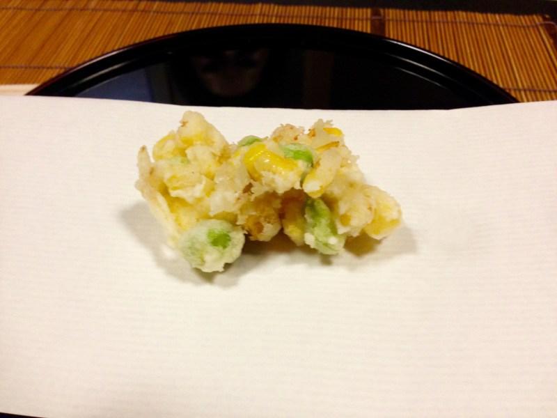 お料理はやし天ぷらとうもろこし