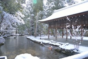 kamigomo shrine in snow