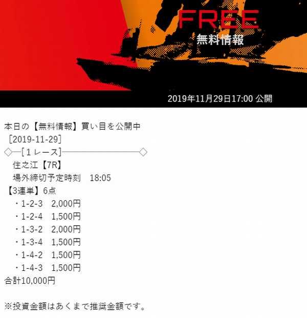 競艇予想サイト「競艇ダイヤモンド」の2019/11/29ナイターレースの無料予想画像です。