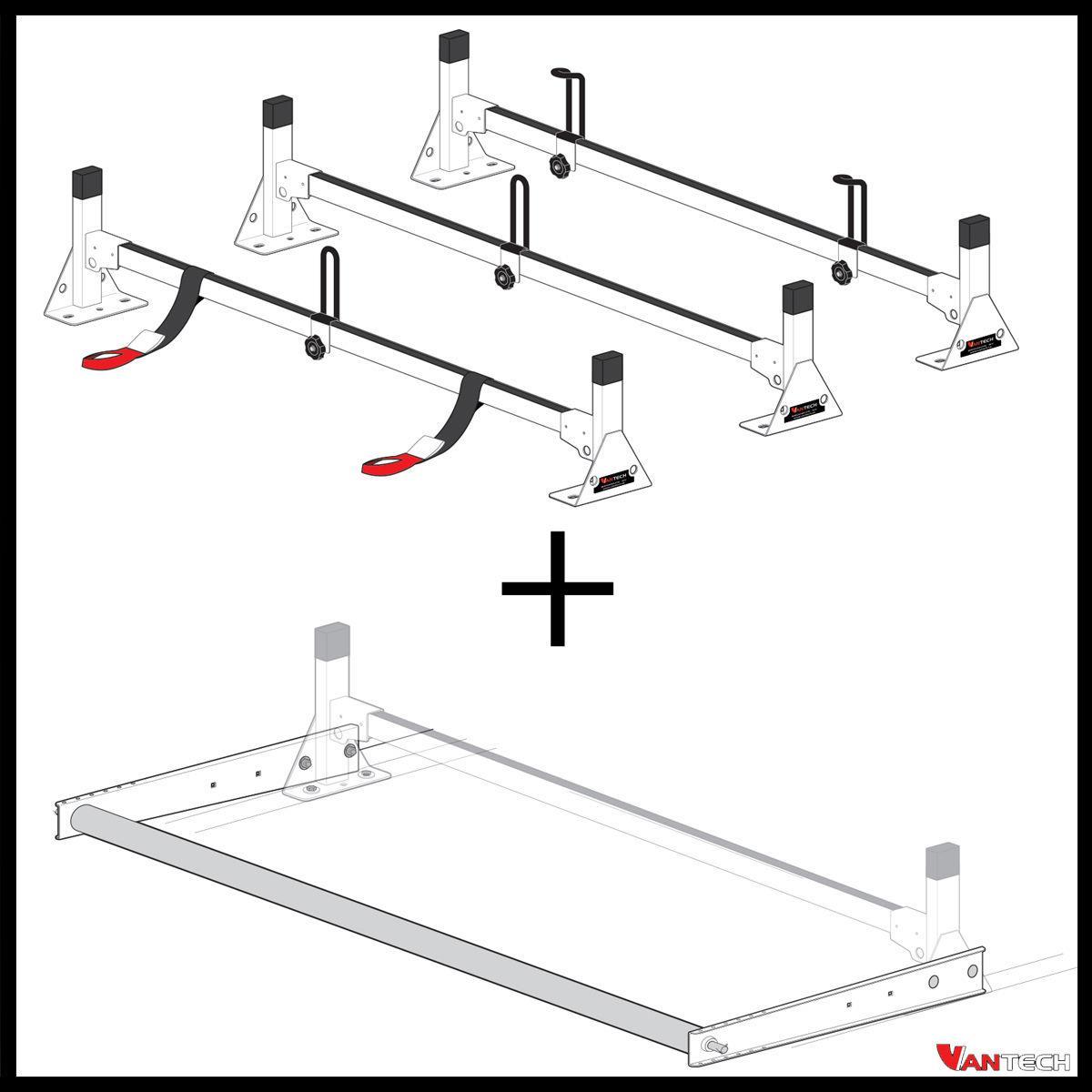 Vantech 3 Bar Silver Aluminum Ladder Roof Rack System W