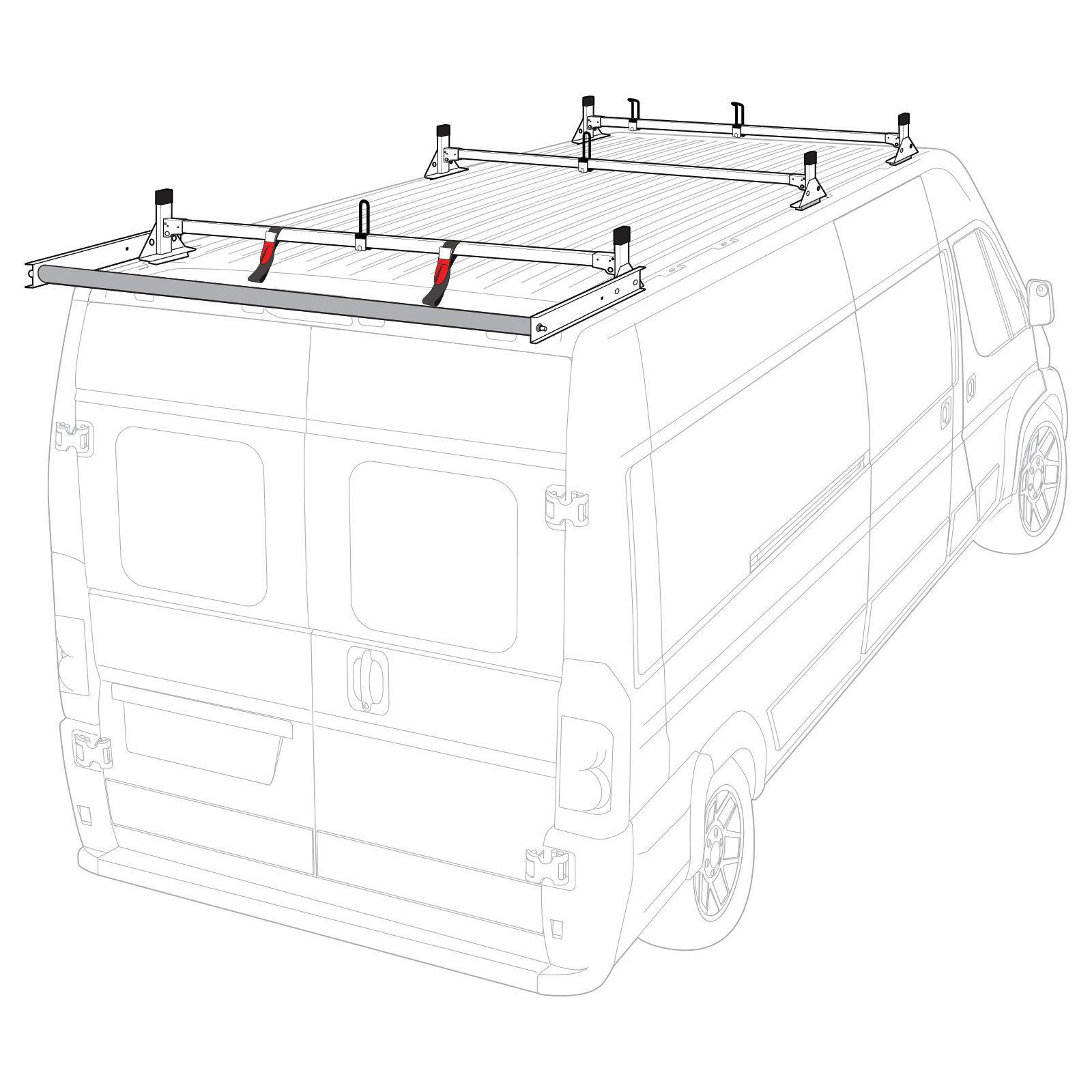 Vantech 3 Bar White Aluminum Ladder Roof Rack System W