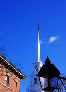 steeple and lamp