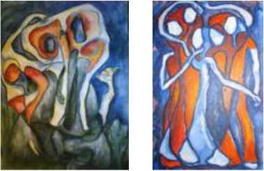 Abstract Group Portraits of the Afterlife. Left: DEAD WAIT, 2009 (Sold). Right: HOLDING IT ALL TOGETHER, 2009 (Sold)