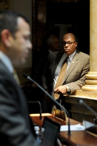Sen. Reginald Thomas, D-Lexington, follows floor debate in the Kentucky Senate.