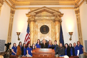 The Carter County Youth Leadership went to Frankfort Wednesday to see firsthand the legislative process in action. The juniors from East and West Carter high schools met with Senator Robin Webb, D-Grayson. Shown with Senator Webb in the Senate Chambers are, Olivia Caldwell, Alexus Tussey, Karilee Knipp, Taelyn Edison, Layken Stone, Ashley Wilson, Erika Fraley, Ryan Rhodes, Makendra Burton, Cody Maddix and Mariah Isaac, and sponsors Shelly Steiner and Pam Kouns.