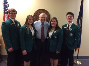 Senator Julian M. Carroll, D-Frankfort, met with the Kentucky State 4-H officers on March 23 during 4-H Day at the Capitol. From left to right are Calvin Andries of Lawrenceburg, president; MacKenzie Jones of Frankfort, vice president, Senator Carroll; Amelia Iliohan of Hopkins County, secretary, and Klernan Comer of Mt. Sterling, treasurer.