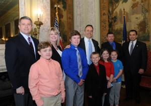 """Senate Democratic Floor Leader Ray S. Jones II, D-Pikeville, today joined the Greenhill Family and Governor Bevin for the ceremonial signing of Senate Bill 193, also known as """"Noah's Law."""" SB 193 will help those suffering from eosinophilic disorders, food protein allergies and short-bowel syndrome. The bill was named after Noah Greenhill, a ten-year-old from Pike County who is essentially allergic to all but a handful of foods."""