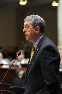 Senator Dorsey Ridley, D-Henderson, debates a bill up for consideration in the Kentucky Senate on restructuring the Kentucky Horse Park.
