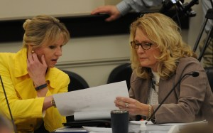 Senator Robin Webb, D-Grayson, (right) confers with Laurie Dudgeon, director of Administrative Office of the Courts, during the budget conference committee meetings during the last week of March in Frankfort. Senator Webb was selected by the Senate Majority Leadership to serve on the committee to iron out the differences in the Senate and House spending proposals. Senator Webb has worked on numerous budgets as a member of the Senate Appropriations and Revenue Committee and as former vice chair of the House budget committees.
