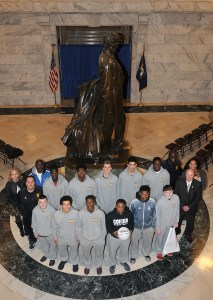 "Senator Johnny Ray Turner, D-Prestonsburg, recognized the Cordia High School Lions boys' basketball team on Feb. 24 in Frankfort for winning the All ""A"" Classic championship. The Senate adopted Turner's Senate Resolution 139 honoring the Cordia Lions up on their title win."