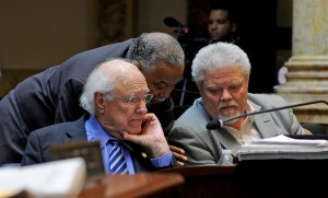 Senate Democratic Caucus Chair Gerald A. Neal, D-Louisville (center), confers with Senate Democratic Whip Julian M. Carroll, D-Frankfort (left), and Senator Perry B. Clark, D-Louisville, during a recess period last week in the Kentucky Senate. The Senate will resume for its final day, and 60th day, of the 2016 Legislative Session on April 12th.