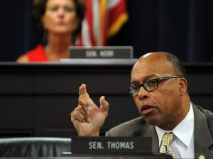 Senator Reggie Thomas, D-Lexington, asked officials from the Cabinet for Health and Family Services questions about the Benefind rollout during the July 20 Interim Joint Committee on Health and Welfare.