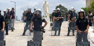 Police_guarding_Greek_parliament_during_demonstrations_Athens_Greece