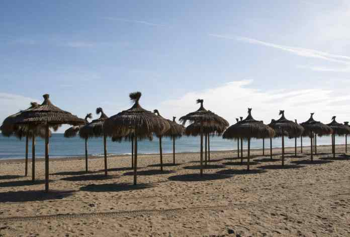 beach, umbrellas, shadow