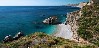 Kaladi beach on island of Kythira, Ionian, Greece