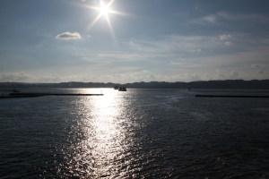 由櫻島渡輪拍鹿兒島市方向