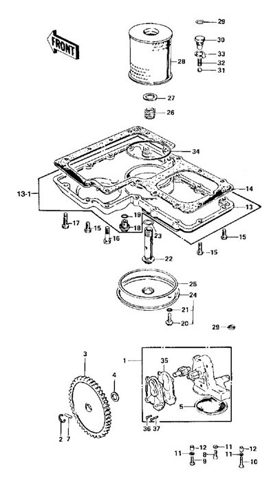 Oil Pump Filter Pan Parts For Kawasaki Z1 Kz900 Kz