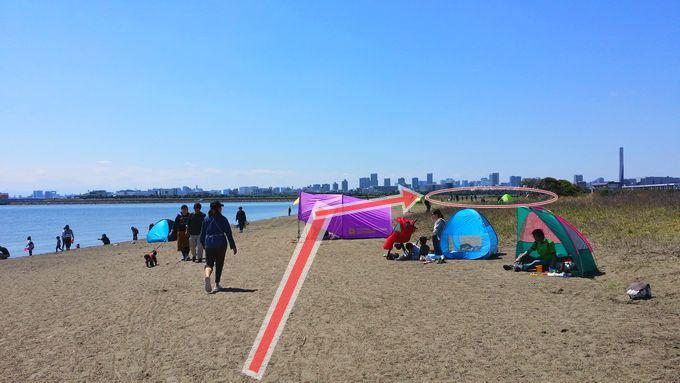 葛西海浜公園のBBQエリアに行くには砂浜を通る