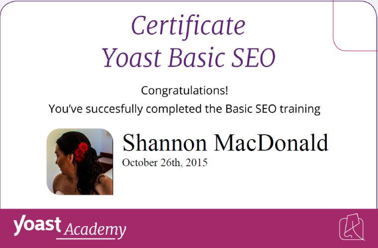SEO Certification Earned!