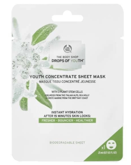 the body shop sheet mask, youth concentrate