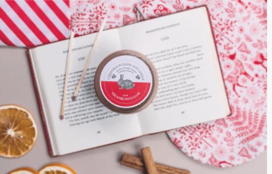 the vegan bunny christmas pudding candle