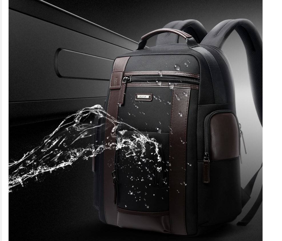 Men's Chocolate Leather Detail Laptop Backpack