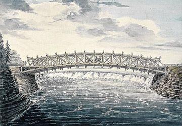 Ni le Père Noël ni Champlain n'ont eu accès à un pont sur la rivière des Outaouais à la chute des Chaudières.  Illustration: fonds John Burrowes, Bibliothèque et Archives Canada, numéro d'acquisition 1936-60-1, C-016331.