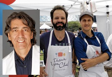 En médaillon: Didier Leroy. À droite: Émeric Grosjean et Stan Leveau-Vallier, fondateurs de Thank You Chef.