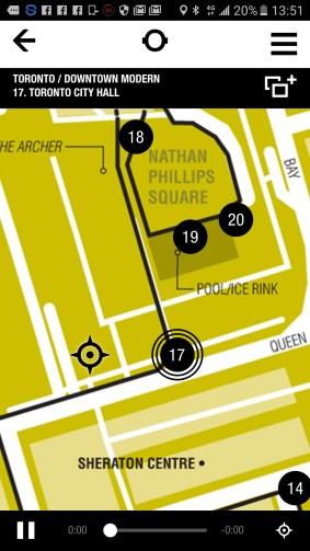 Quatre points d'intérêt autour de l'Hôtel de Ville de Toronto dans le chapitre Toronto/Downtown Modern de l'app Portrait sonore.