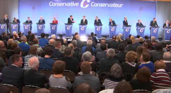 Débat des candidats conservateurs à Québec le 17 janvier.