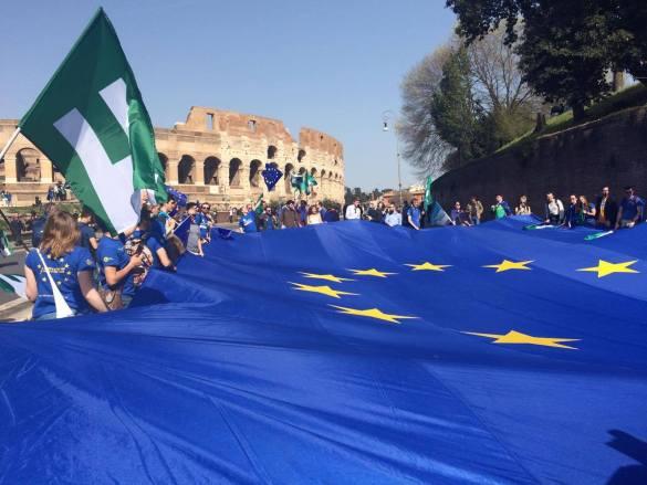 Manif pro-européenne à Rome, où a été signé le traité créant l'UE il y a 60 ans. (Photo: Colomban Jaosidy)