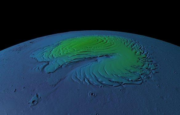 Représentation d'un événement climatique sur mars à partir de photos d'une sonde orbitale de la NASA.