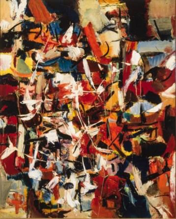 La ville, 1949, Jean-Paul Riopelle, huile sur toile, 100x81cm. Collection particulière (Photo: Christine Guest,MNBAQ. Succession Jean-Paul Riopelle/SODRAC 2017)