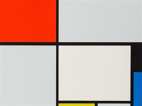 Mondrian, Composition avec rouge, noir, bleu et jaune, 1928. Internet et p. 289.
