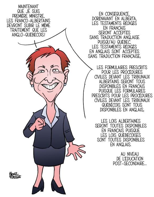 Caricature de la première ministre albertaine, publiée en 2011 dans Le Chinook