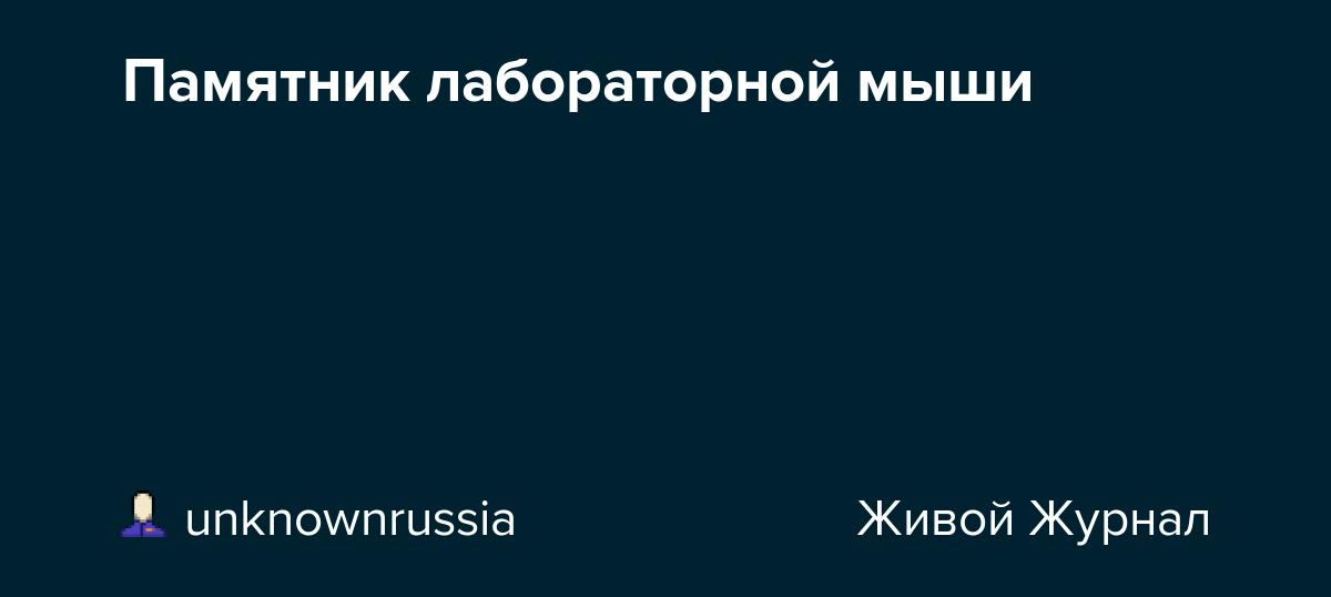 Памятник лабораторной мыши: unknownrussia — LiveJournal