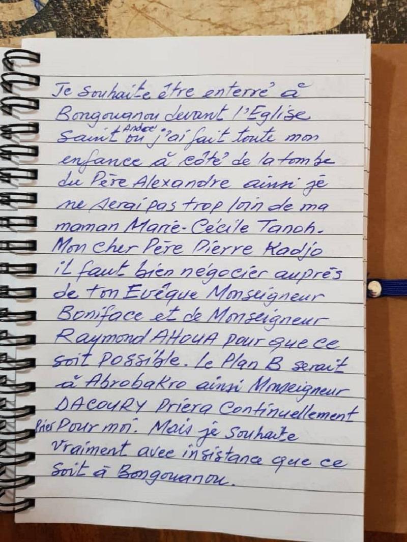 Prêtre retrouvé pendu, lettre d'adieu, Mgr Raymond Ahoua, Côte d'Ivoire