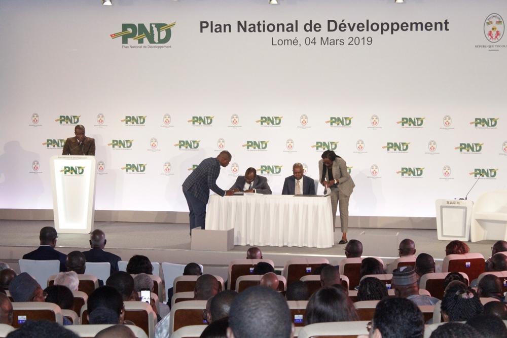 Togo, Plan National de Développement, Faure E. Gnassingbé, Carlos Lopez, SCAPE, Stratégie de croissance accélérée et de promotion de l'emploi, Projet de société, Déclaration de politique générale du gouvernement, Agenda 2030 de développement durable, Vision 2020, Communauté économique des Etats de l'Afrique de l'Ouest, CEDEAO, Agenda 2063, Union Africaine, Koudou Komi Dovi, Samuel Mathey, Ade Ayeyemi, Patrick Sevaistre, Gilbert Houngbo, Lionel Zinsou, PND, Sani Yaya, Eric Cossi Eda, Amévi Donou Adodo, Oudjatipou Assouma Bonpoudja,