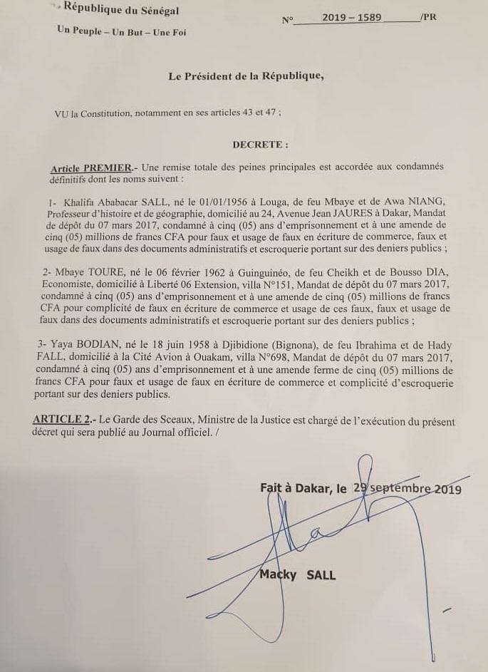 un[Sénégal Urgent] L'ex maire de Dakar Khalifa Sall libéré par décret présidentiel !