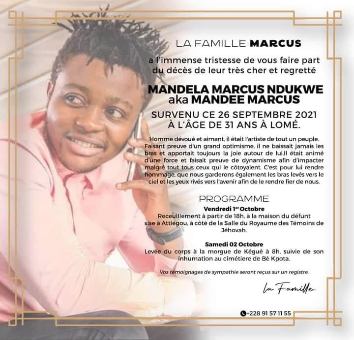 Togo/Décès de Mandee Marcus : le programme de ses obsèques est dévoilé