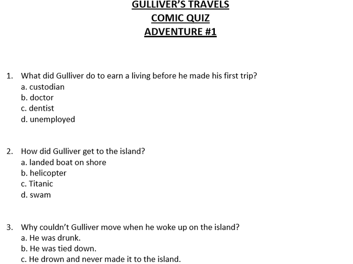 Gulliver's Travels Short Multiple Choice Quiz by zelayaa ...