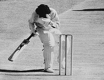 Alvin Kallicharran takes one in the face from Dennis Lillee during the 1975-76 tour to Australia.