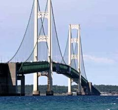Mackinac Bridge spans Michigan's Upper and Lower Peninsulas