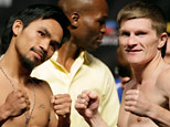 Manny Pacquiao, left, of the Philippines and British boxer Ricky Hatton face off at the weigh-in for their junior welterweight boxing match, Friday, May 1, 2009, in Las Vegas. (AP Photo/ Jae C. Hong )