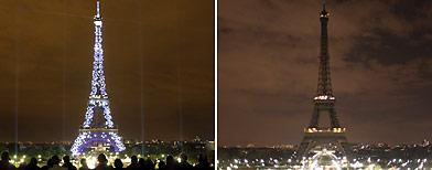 Eiffel Tower, left (AP); Eiffel Tower during Earth Hour (AP)