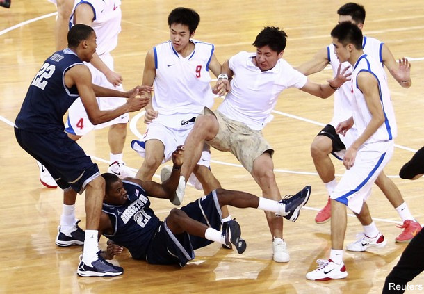 Wild brawl ends Georgetown's exhibition game in China early