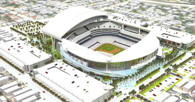 File illustration released by the City of Miami on Jan. 27, 2009, shows the proposed new Florida Marlins baseball team's ballpark.(AP Photo/City of Miami, HO, File)