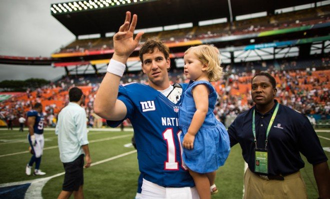Eli Manning looks super stoked to be at the Pro Bowl.