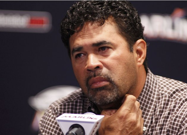 Miami Marlins manager Ozzie Guillen speaks at a press conference at Marlins Park in Miami