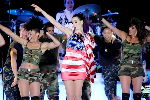 In this May 23, 2012 photo released by Starpix, singer Katy Perry wears a patriotic dress as she performs at a Pepsi-sponsored event at Brooklyn Pier 9A, kicking off  Fleet Week in New York. (AP Photo